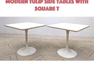 Lot 2348 Pair Mid Century Modern Tulip Side Tables with Square T