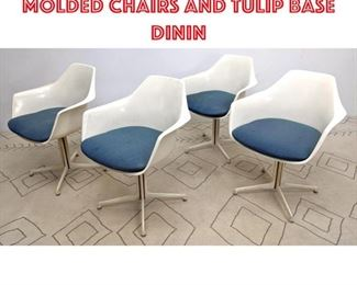 Lot 2350 BURKE Dining Set. 4 Molded chairs and Tulip base dinin