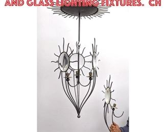 Lot 2352 2 pc French Style Iron and Glass Lighting Fixtures. Ch