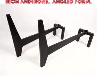 Lot 2355 Modernist French Style Iron Andirons. Angled form.