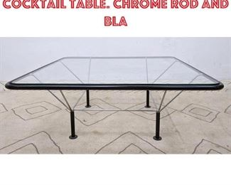 Lot 2356 Italian Style Coffee Cocktail Table. Chrome rod and Bla