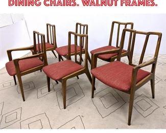 Lot 2360 Set 6 American Modern Dining Chairs. Walnut frames.