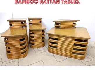 Lot 2361 3pcs PAUL FRANKL Bamboo Rattan Tables.