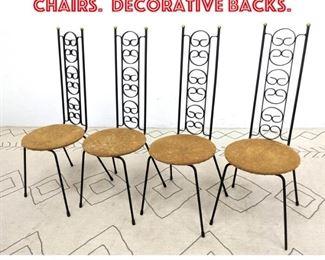 Lot 2373 Set 4 Tall Back Iron Cafe Chairs. Decorative backs.