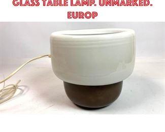 Lot 2375 TIMO SARPANEVA 2 Part Glass Table Lamp. Unmarked. Europ