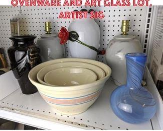 Lot 2467 Dansk art glass, Ovenware and art glass lot. Artist sig