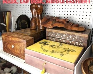 Lot 2472 Jewelry boxes, leather mask, lap desk, middle eastern i