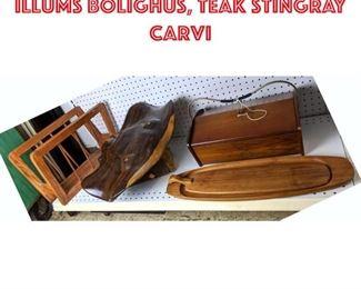 Lot 2477 Danish Sewing kit, Illums Bolighus, Teak Stingray carvi