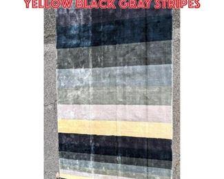 Lot 2504 8 x5 6 Carpet with yellow black gray stripes