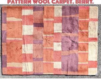 Lot 2511 5 x8 Modernist Dakota pattern Wool carpet. Berry.