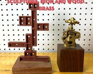 Lot 2513 2 Modernist Industrial Sculptures. Iron and wood. Brass