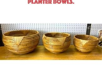 Lot 2527 3pc Rattan Bamboo Planter Bowls.
