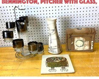Lot 2528 Mid Century Modern Lot. Bennington, Pitcher with glass,
