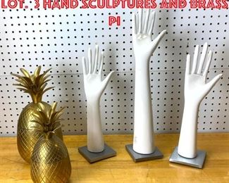 Lot 2530 Mid Century Modern Lot. 3 Hand Sculptures and Brass Pi