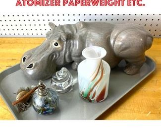 Lot 2537 Glass and Pottery lot. atomizer paperweight etc.