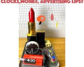 Lot 2538 Mid Century Modern lot Clocks,mobile, advertising lipst