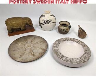 Lot 2540 Shelf Lot 6pc lot pottery Sweden Italy Hippo