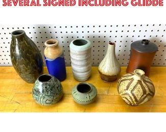 Lot 2541 8PCS ART POTTERY VASES. SEVERAL SIGNED INCLUDING GLIDDE