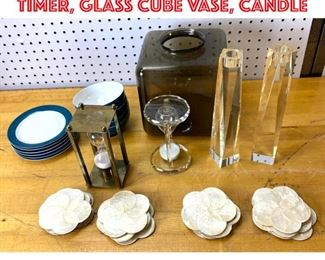 Lot 2543 Mid Century Modern Lot. Timer, glass cube vase, candle