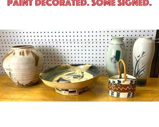 Lot 2544 5pcs Art Pottery Lot. Paint Decorated. Some Signed.