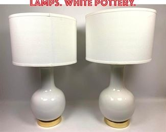 Lot 2545 Pair SAFAVIEH Table Lamps. White pottery.