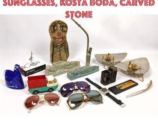 Lot 2552 Shelf Lot Lot of Sunglasses, Kosta Boda, carved stone