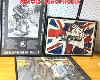 Lot 2560 3 Framed Posters. Sec pistols, xenophobia