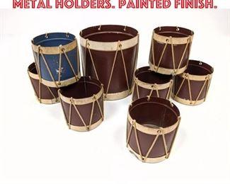 Lot 2562 8pcs Vintage Drum Form Metal Holders. Painted finish.