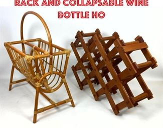Lot 2569 2pc Bamboo Magazine Rack and Collapsable Wine Bottle Ho