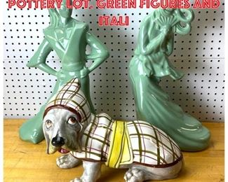 Lot 2574 Mid Century Modern Pottery Lot. Green figures and Itali
