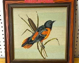 Lot 2580 Bird Framed Needlepoint.