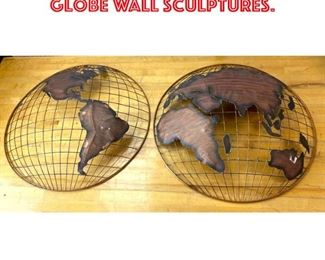 Lot 2581 C. JERE style World Globe Wall Sculptures.