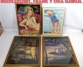 Lot 2586 4pcs Wall art. Nude needlepoint, Frank Y Oda Hawaii.
