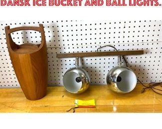 Lot 2590 Mid Century Modern Dansk Ice bucket and ball lights.