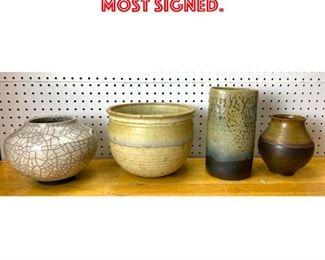 Lot 2597 4pcs Art Pottery Vases. Most signed.