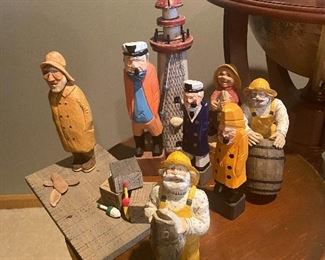 Wood and cast iron figurines