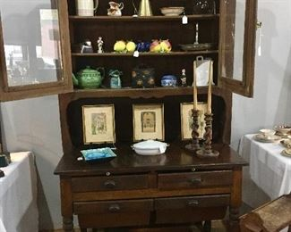 American 19th C farm cupboard in superb condition - great in a den or kitchen or breakfast room