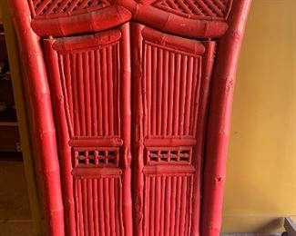 Red bamboo hutch   $250
