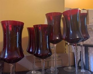 LOT of red glass candle holders $40