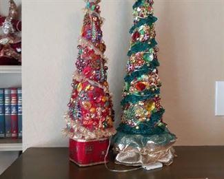 Handmade jeweled Christmas trees.