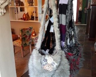 Handmade faux fur handbag.