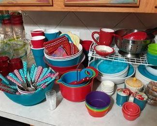 Colorful kitchen dishware.