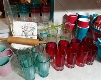 Colorful glassware.