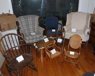 Assorted furniture, Windsor rocker, kid's chairs