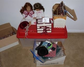 American girl set with 2 dolls and lots of outfits