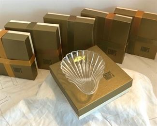BACCARAT SCALLOP SHELL DISHES, NEW IN BOX