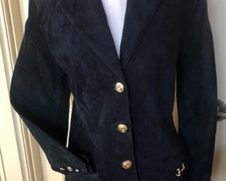BLACK SUEDE BLAZER BY CEDARS WITH BRASS BURROWS AND BRASS HORSE BIT DETAIL