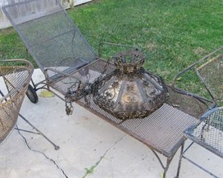 Vintage patio lounger (Woodard?)and iron Mexican lamp
