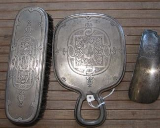 Sterling dresser set - mirror, clothes brush and shoe horn