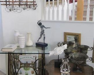 Roseville vases (singer table not available)